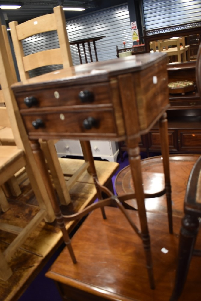 A 19th Century mahogany night stand, two drawers, on turned legs, width approx. 42cm