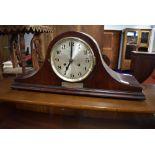 A 1920s mahogany Napoleon style mantel clock , with presentation plaque Lewis's 1927