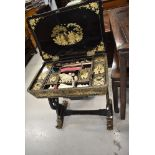 A beautiful Japanese lacquerwork sewing table, probably 19th Century
