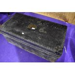 A period travel trunk of lovely design and proportions, having studded exterior and brass name