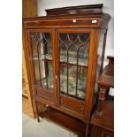 An Edwardian mahogany and inlaid display cabinet, dimensions approx. W93 D37 H176cm