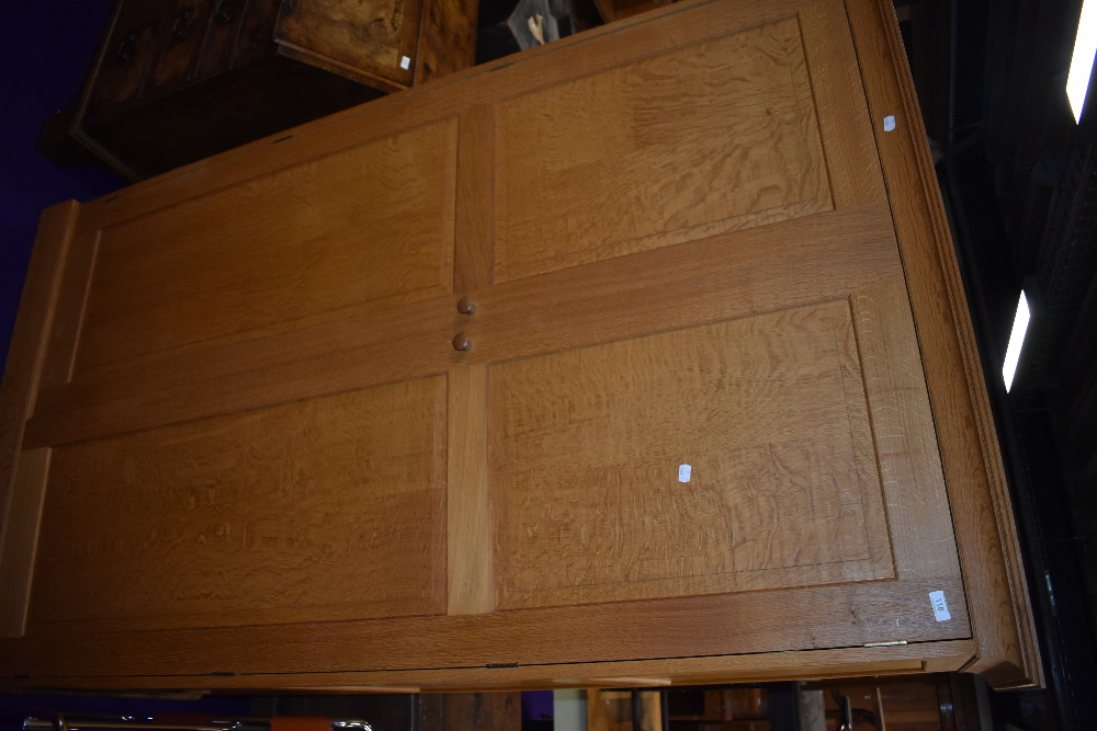 A craftsman made golden oak wardrobe, attributed to Peter Hall of Staveley, width approx. 122cm - Image 3 of 5