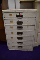 A Victorian factory or transport rail related set of pine drawers 94cm high 60cm wide