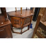 An Old Charm Oak credence or hall way table having carved crest for Lady Diana and Prince Charles