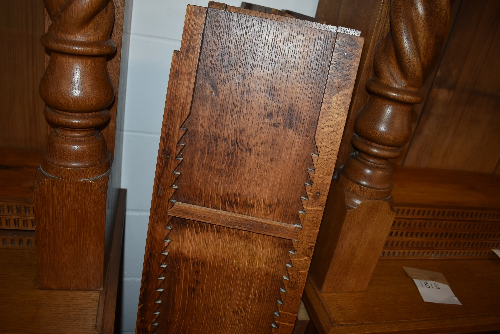 A near pair of 19th Century and later golden oak bookcases, having Corinthian column to base and - Image 2 of 4