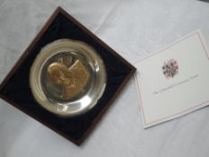 A 1974 limited edition Churchill Centenary Trust commemorative silver plate having gold plated