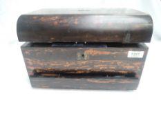 A Victorian treen travel/dressing table vanity box having engraved white metal hinges, blue velvet