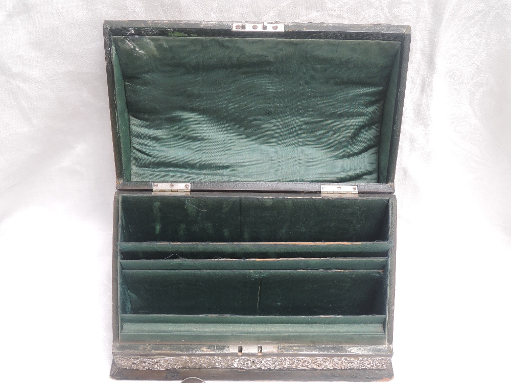An Edwardian silver mounted desk top writing companion having hinged curved lid over a green - Image 2 of 5