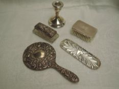 A selection of HM silver including clothes brush, hand mirror, trinket dish and tray and small
