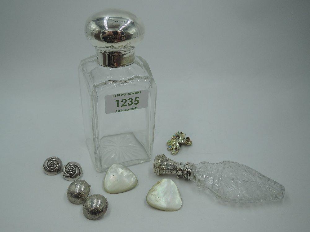 A Victorian glass bottle of rectangular form having glass stopper and silver hinged lid, - Image 2 of 2