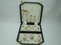 A cased set of six silver egg spoons, London 1932, makers marks worn, a pair of Victorian silver