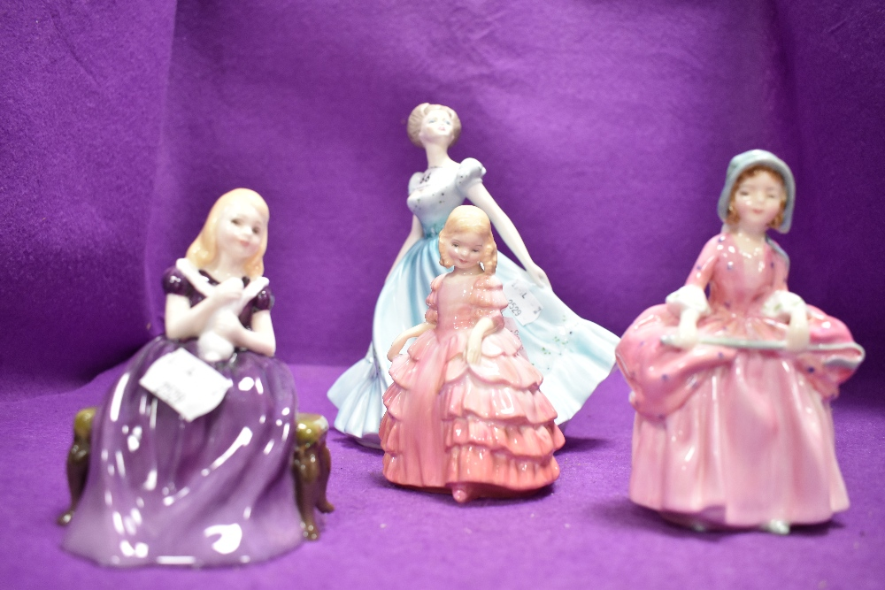 Three figural studies including Coalport Rapture and Royal Doulton Bo Peep Rose and Affection
