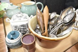 A selection of table and bake wares including cream pot cutlery and Denby jug