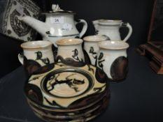 A part studio pottery coffee service by Adam Dworski of Wye pottery Clyro