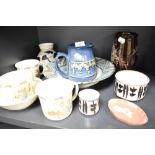 A selection of ceramics including Bunnykins Jasper ware red ground dish and Bentham Pottery