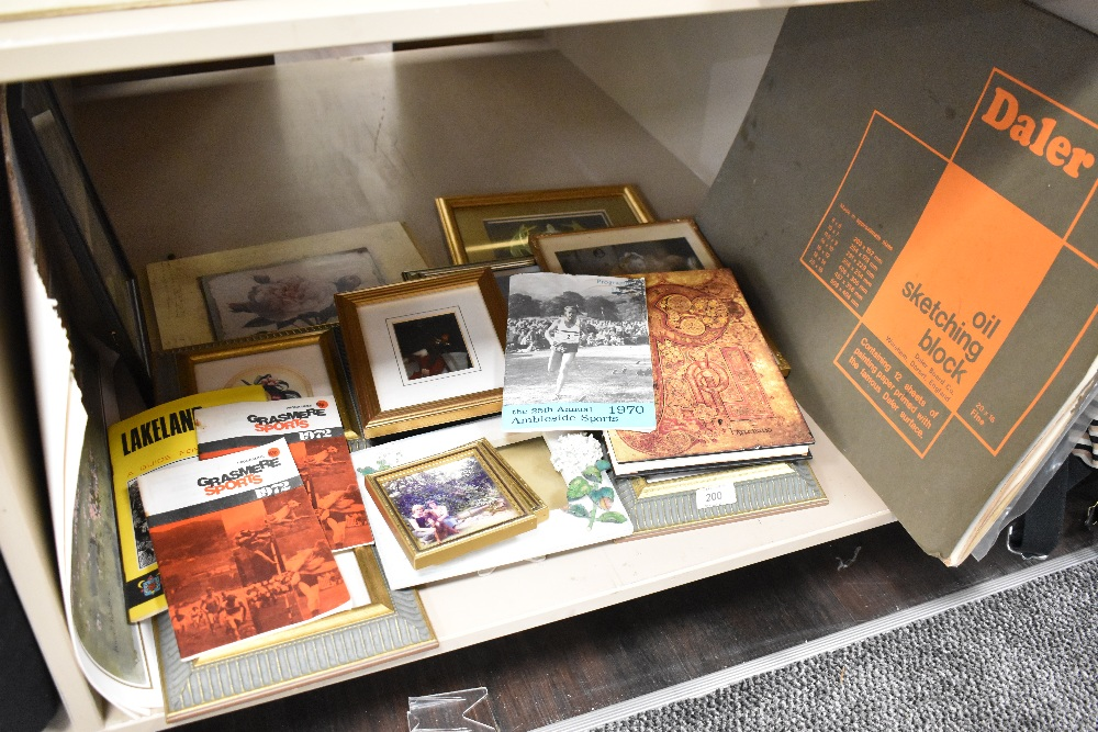 A selection of picture and photo frames and some local interest original art