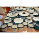 A selection of tea and dinner wares by Wedgwood in the Blue Pacific pattern