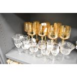 A selection of wine and spirit glasses including lustre wine goblet