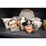 A selection of ceramics including three Royal Doulton character mugs and Duchess tea service