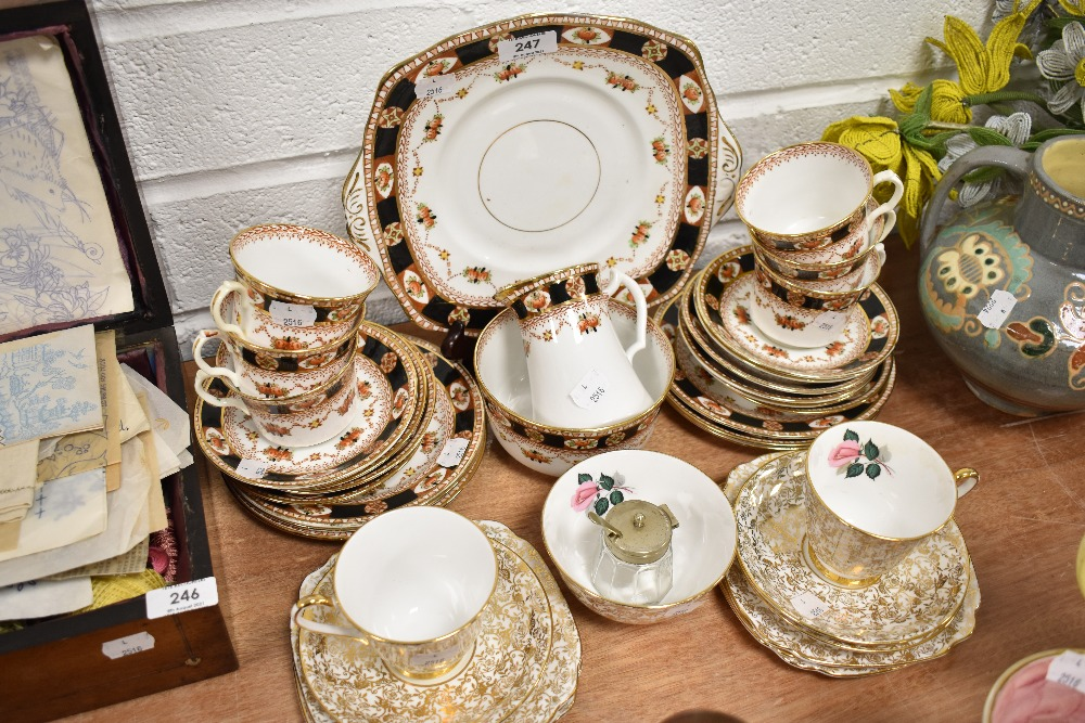 A selection of tea cup and saucer sets by Roslyn China and Windsor