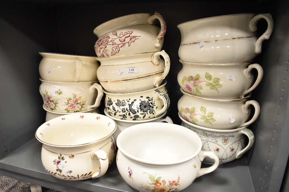 A large selection of antique and later ceramic chamber pots
