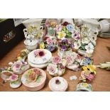 A selection of ceramic floral baskets including Coalport and Royal Doulton