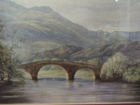A water colour river landscape 19th century 22x34 cm famed and glazed