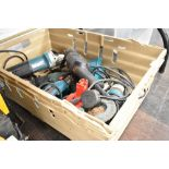 A selection of Makita and similar power tools including angle grinder and drill etc