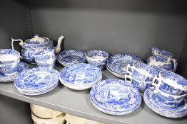 A selection of tea and dinner wares by Copeland Spode having blue and black back stamps