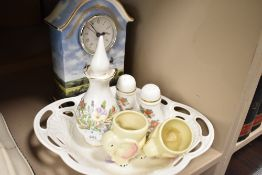 A selection of ceramics including Aynsley and a Bradex clock