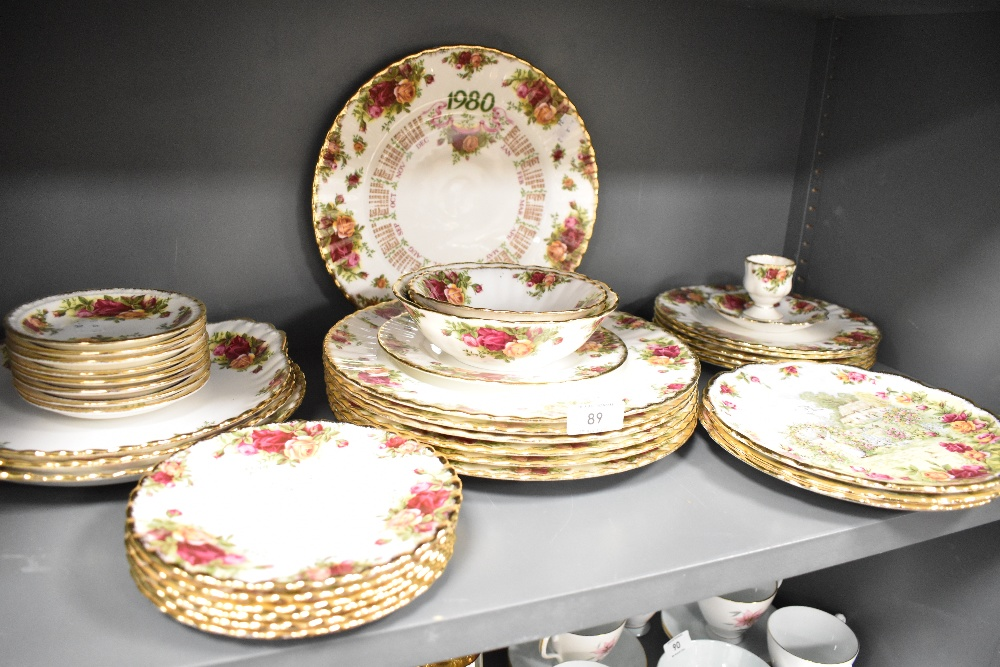 A selection of dinner and table wares by Royal Albert in the Old Country Roses design