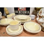 A selection of blue and yellow glazed vitramic table and ware by Hornsea Pottery