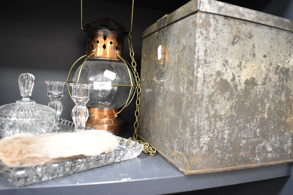 A cut glass dressing table set a biscuit tin and a copper bodied lantern