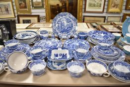 A selection of tea and table wares by Copeland Spode on blue back stamp and similar etc