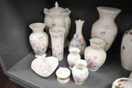 A selection of vase by Aynsley in the Little Sweetheart design