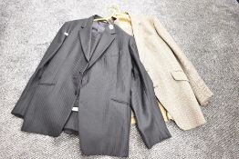 Two gents vintage suits, one pure new wool pin stripe in black design circle for John Collier,the
