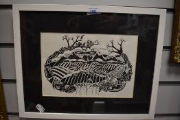 A wood block print depicting landscape flora and fauna after H.Paleman 2014