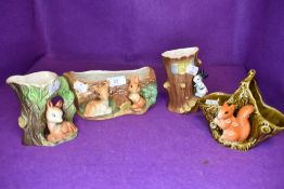 A selection of animal themed posy and flower vases including Sylvac and Hornsea Fauna Royal