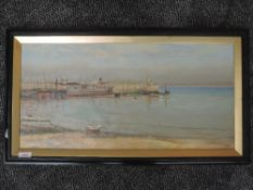 An oil painting, G P, harbour scene, inittialled and dated 1912, 30 x 60cm, plus frame