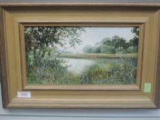 An oil painting, Marion Bradley, Waterhead, signed and attributed verso, 16 x 28cm, plus frame and