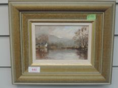 An oil painting on board, R Martin Tomlinson, Morning Light Brathay Boathouse, signed and attributed