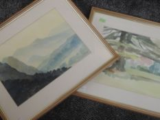 A watercolour, Marilyn Tordoff, Morning light Coniston, signed, 25 x 35cm, plus frame and glazed,