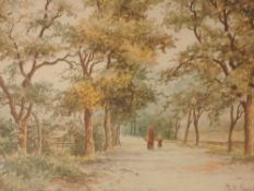A pair of watercolours, B M Stewart, country lane, and woodland, each signed, 19 x 28cm, plus