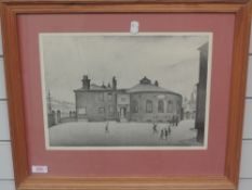 A pair of re-prints, after L S Lowry, 27 x 36cm, plus frame and glazed