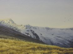 A watercolour, J Ingham Riley, Sharp Edge Blencathra, signed and attributed verso, 24 x 35cm, plus