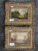 A pair of oil paintings on board, F Zintl, landscapes, signed, 19 x 30-5014cm, plus frames