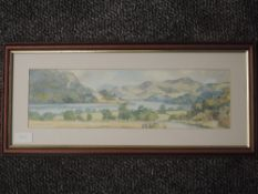 A watercolour, Barry Claughton, Ullswater, signed, 12 x 42cm, and a watercolour, Barnsley, woodland,