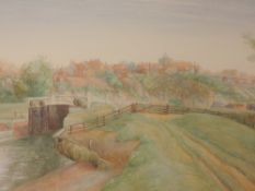 A watercolour, L Monkton, canal landscape, indistinctly signed, 21 x 36cm, plus frame and glazed