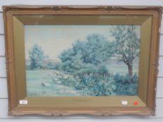 A watercolour, attributed to J J Pearson, Rural Essex Nr Ilford, initialled, 33 x 50cm, plus frame