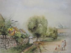 Two watercolours, Gail C Lodge, pastoral country lane, 21 x 23cm, and village scene, 26 x 36cm,